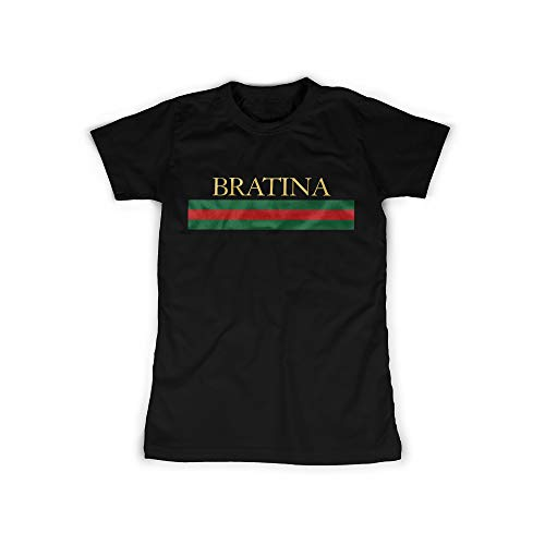 Frauen T-Shirt mit Aufdruck in Schwarz Gr. M Bratina Sister Russian Rot Grün Design Girl Top Mädchen Shirt Damen Basic 100{0de3b4a7402480314541479e43bdcfc3c885dd213fea8d63fe421cd618605d11} Baumwolle Kurzarm