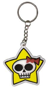 Cruise Ship Drummer - Star Cute Girly Skulli with Pink Bow - Rubber High Quality Die-Cut Porte-clés Keychain Keyring -