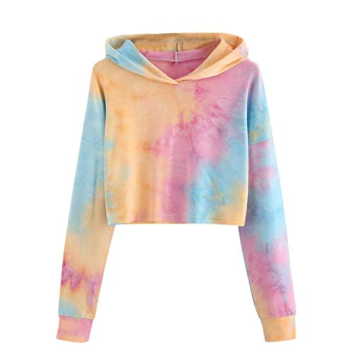 Iuhan Hoodies Tops Teen Tie Dye Hoodie Crop Top Cozy Long Sleeve Hooded Pullover Tops M Orange