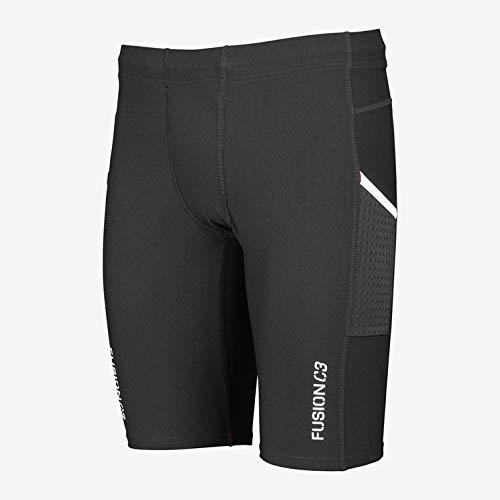 Fusion C3+ Short Tight kurze Laufhose unisex Runshort mit Seitentaschen, Schwarz, M -
