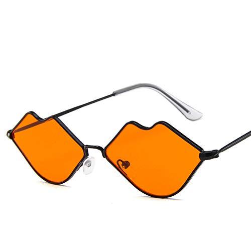 DZSF Unisex Kleine Box Metall Lippen Sonnenbrille, Marine Stück Sonnenbrille Retro Roten Lippen Metallrahmen,3