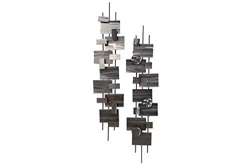 KunstLoft Extravagante Metall Wandskulptur 'Living Geometry' 108x25x15cm | Design Wanddeko XXL handgefertigt Metallbild Wandrelief | Abstrakte Quader & Kreise in Silber | Wandbild modern