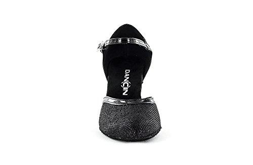 Dancin Scarpe da Ballo Donna Punta Chiusa Dalla Silhouette Senza Tempo, Colore Nero brillantinato Tacco 7 cm nero brillantinato