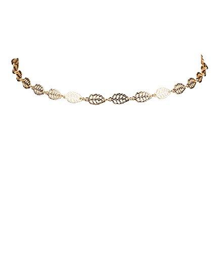 """SIX \""""Trend Damen Choker Kette, Halskette, Halsband, Gold, Blätter (730-536)"""