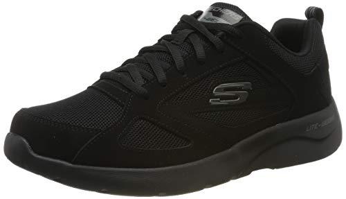 Skechers Dynamight 2.0-Fallford, Scarpe da Ginnastica Uomo, Nero (Black Leather/Mesh/Pu/Trim Blk), 41 EU