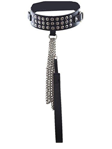 Wiftly Halsbänder Damen Herren Bondage Halskette mit leine Niet PU Leder Gay S&M Einstellbar erwachsenen Sklavenkragen (Niet Mädchen Kostüm)