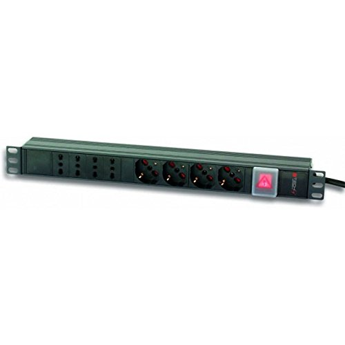 8-outlet Strip (Techly I-Case strip-44 8 AC Outlet (S) 1U Black Power Distribution Unit (PDU) - Power Distribution Units (PDUs) (Basic, 1U, Single-Phase, horizontal, Aluminium, Black))