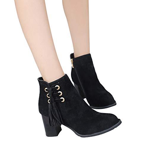 TianWlio Damen Stiefel Stiefeletten Mode Frauen Runde Kappe Hoher Absatz Schuhe Quaste Wildleder Martin Stiefel Reißverschluss Stiefel