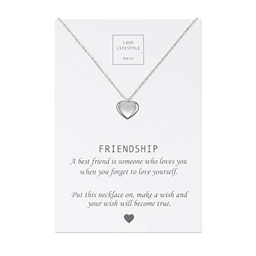 Luuk lifestyle gioielli donna, gift card, collana con ciondolo a forma di cuore e biglietto regalo con frase friendship, portafortuna, gioielli donna, gift card, argento