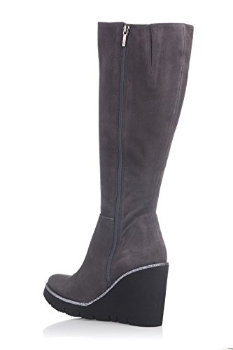 Laura Moretti High Boot Below The Knee Wedge, Plateforme Femme Gris