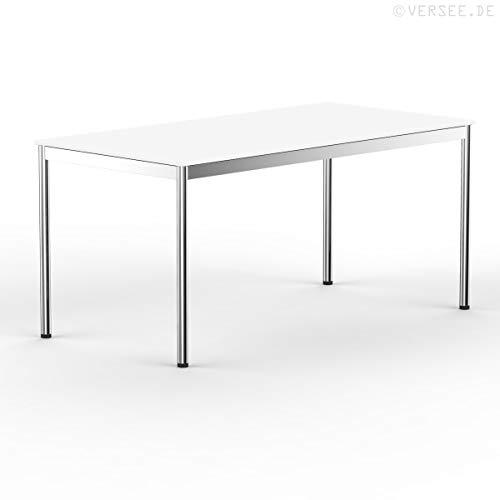 VERSEE system8x Design Schreibtisch - Holz - Weiß - 180 x 80 cm - Konferenztisch Metall-Gestell in Stahl/Chrom hochwertige Verarbeitung Dekor...