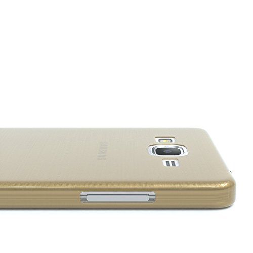 Samsung Galaxy Grand Prime Hülle - EAZY CASE Ultra Slim Cover Handyhülle - dünne Schutzhülle aus Silikon in Transparent Brushed Gold