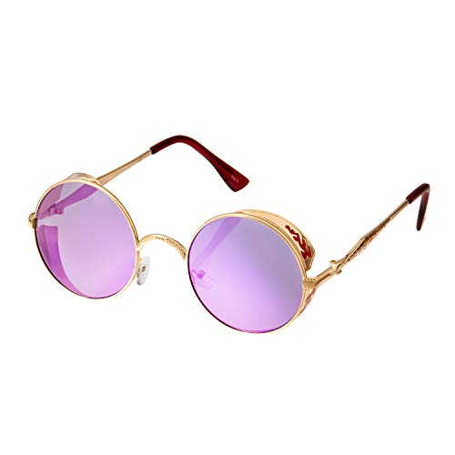 Ultra Gold mit Lila Gläsern Steampunk Sonnenbrille Retro Damen Herren Rund Rave Gothic Vintage Victorian Kupfer UV400 Schutz Metall Unisex