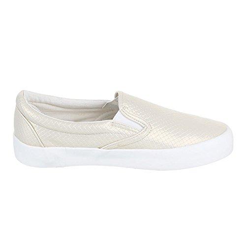 Damen Schuhe, IR-375, HALBSCHUHE SLIPPER Beige Gold