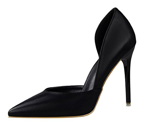 Minetom Donna Scarpe Col Tacco Stiletto Scamosciato Semplice Pump Shoes Elegante Partito Di Sera Sandali Scarpe Nero EU 34