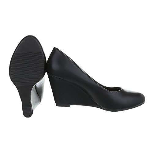 Ital-Design , chaussures compensées femme Schwarz EK-96