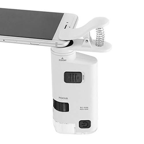 zmigrapddn 40X-60X Zoom Kunststoff Objektiv Lupe mit LED Licht Clip auf Handy-Mikroskop Lupe Lupen Werkzeuge Vergrößerungswerkzeuge