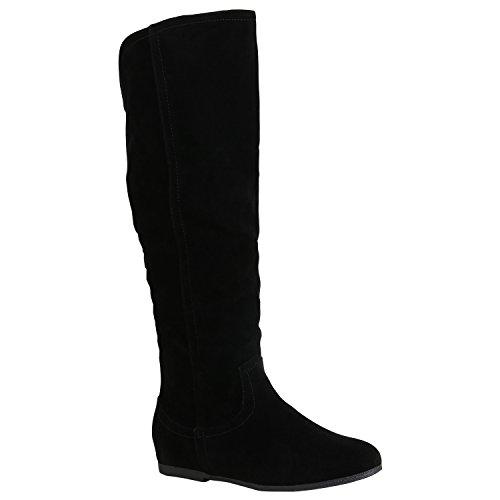 Damen Schuhe Keilstiefel Leicht Gefütterte Plateau Stiefel Wedges Quasten 157087 Schwarz Zipper 41 Flandell
