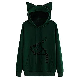 Xmiral Hoodie Pullover Damen Herbst Winter Mädchen Cat Drucken Kapuzenpullover Sweatshirt Casual Langarm Top (L,Armeegrün)