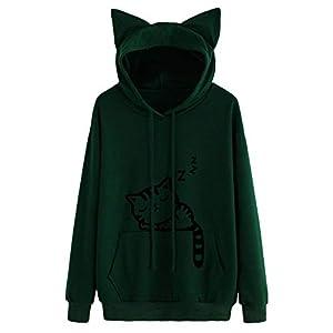 Xmiral Hoodie Pullover Damen Cat Drucken Kapuzenpullover Sweatshirt Casual Langarm Top