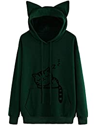 Women s Cat Printing Long Sleeve Hoodie Sweatshirt Hooded Pullover Tops  Blouse Cute for Teen Girls 846c8859f