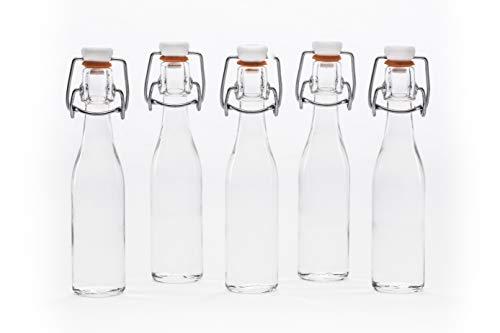 12, 24, oder 50 x 40 ml kleine Bügelflasche mini Bügelverschlussflasche Fläschchen leere Glasflasche mit Bügelverschluss Weinflasche Schnapsflasche Essig Öl Glasflaschen 0,4 L liter von (50 Stück) (Leere Fläschchen)