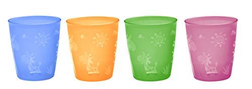 NIP Kindertrinkbecher für Kleinkinder und Babys, mit niedlichem Motiv, BPA-frei, Made in Germany, 4er Set, ab 2 Jahren