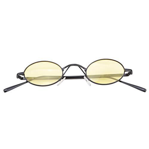LnLyin Oval Vintage Sonnenbrille Curved Nose Sonnenbrille Klassische Sonnenbrille Geeignet Driving Beach Fashion Reisen, Schwarzer Rahmen durch Gelb