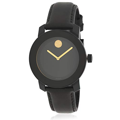 Movado Men's Bold 40mm Black Leather Band IP Steel Case Quartz Watch 3600527
