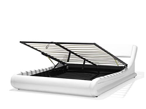 Supply24 Designer Leder Bett Alicante mit Bettkasten + Lattenrahmen Lattenrost Polsterbett wellenförmiges Lederbett Weiss modern gewelltes Bett Doppelbett mit Stauraum günstig (160x200 cm) -