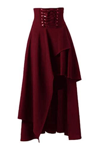 La Mujer De Maxi Falda Lolita Gothic Victorian Steampunk Faldas Borgoña M