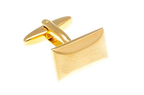 Rettangolare in metallo placcato oro spazzolato semplicemente Gemelli in metallo