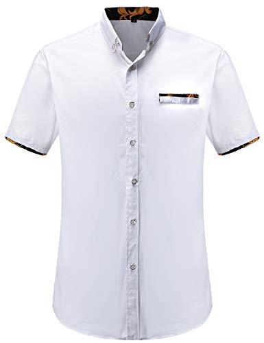 Jeetoo -  camicia casual - floreale - classico - manica corta - uomo blanc3 l