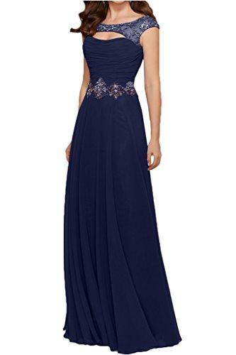 Gorgeous Bride Modisch Rundkragen A-Linie Chiffon Tuell Abendkleider Festkleider Ballkleider Lang Dunkelblau
