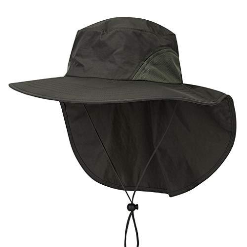 EUCoo Unisex-Sonnenhut Wasserdichter Big Cape-Fischen-Hut Zoo-Hut, Der Sonnenschirm-Hut Wandert(Armeegrün)