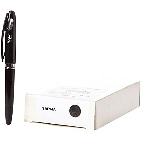 Pentel Tradio–Confezione di 12penne stilografica ricaricabile inchiostro blu corpo vernice nero