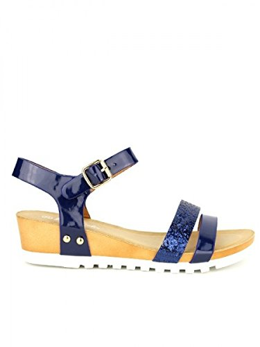 Cendriyon, Sandale Blue Bi matière FOREVER Chaussures Femme Bleu