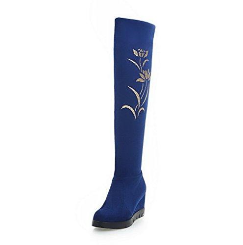 AllhqFashion Damen Rund Zehe Hoher Absatz Hoch-Spitze Rein Stiefel mit Paillette Blau