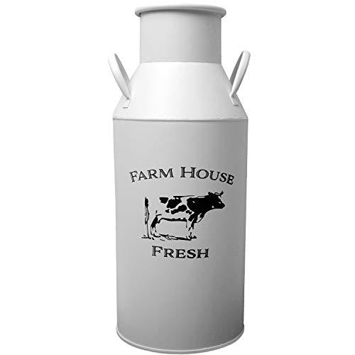 Deko Milchkanne Farm House Fresh Ø21xH50cm Metall Weiß - Milchkrug Milchkännchen Dekokanne