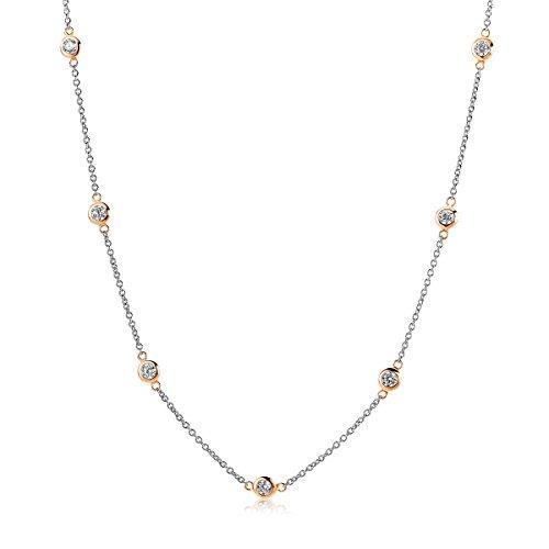 Miore Damen Vergoldete Bicolor Sterling Silber (925) Halskette mit Brillantschliff Zirkonia von 45 cm Silberkette
