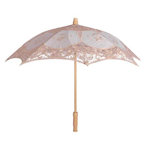 Ombrello, tingsu pizzo ricamato ombrellone ombrello da sposa dancing party photo show (bianco, s) beige beige large