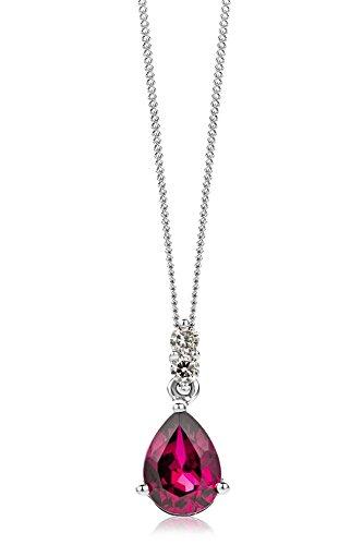 Miore Kette - Halskette Damen Weißgold 9 Karat / 375 Gold Kette  Rubin Diamant Brillianten 0.06 ct 45 cm