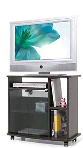 LGVSHOPPING Mobile Carrello Porta TV In Legno Melaminico Crescendo 80 (Nero)