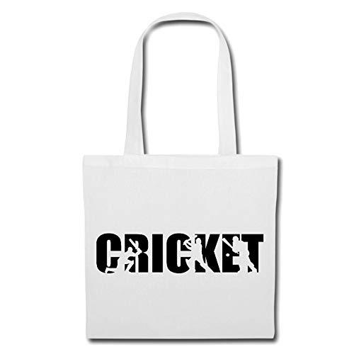 Tasche Umhängetasche CRICKET - BRETTSPIEL - EIS SPORT - CRICKET SPIELER - CRICKET SPIELERIN Einkaufstasche Schulbeutel Turnbeutel in Weiß (Cricket-spieler)