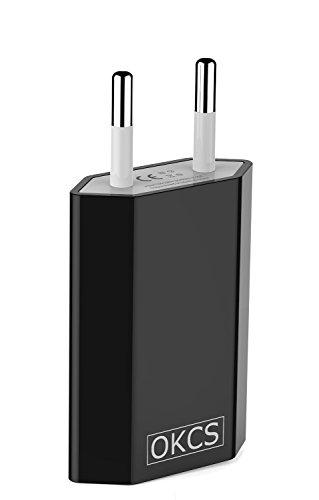 OKCS® 1A USB Netzteil Netzstecker Adapter für Smartphones / Tablets / eBook Reader / Apple iPhone / Samsung / Huawei / Sony / Nokia / HTC / LG - in Schwarz