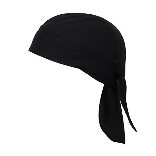 IKuaFly Kopftuch Bandana Pirat Binden Schnelltrocknend One Piece UV Schutz Elastisch Haarband Cap - Outdoor Running Fahrrad Cook Kopfbedeckung (schwarz) (Armee Arzt Kostüme Für Erwachsene)