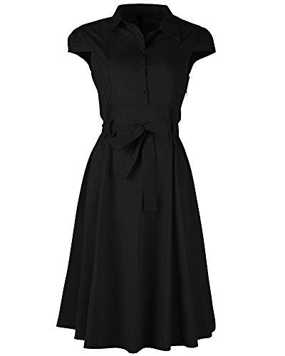 SaiDeng Femmes Tempérament Vintage Manche Courte Mince A-ligne Robe Noir