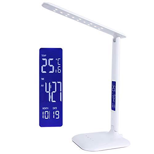 Da-upup Quarzwecker mit Nachtlicht, LED-Nachtwecker, Schreibtischlampe Energiesparend Dimmbarer Augenschutz Flexible TischlampeTouch Control, 5 Helligkeitsstufen einstellbar