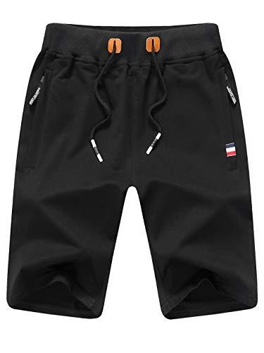 Tansozer Kurze Hose Herren Shorts Sommer Jogginghose Kurz Baumwolle Gym Sweat Shorts Herren Sport (Schwarz,L) (Herren Golf Hosen)