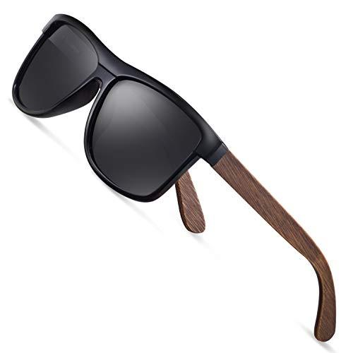wearpro Sonnenbrille Herren Polarisierte Walnussholz Holz Männer Frauen Sonnenbrillen UV400 Mode für das Reisen mit polarisierten Gläsern W1003 (W BBlack)